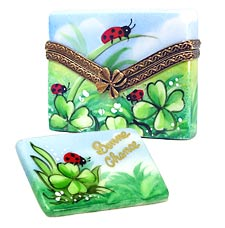 Good luck letter Limoges box with clover and ladybugs