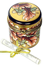 October canister Limoges box from the Rochard Studio Collection