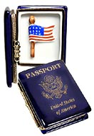 Limoges box US passport with flag