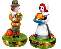 pilgrim man and woman Limoges boxes