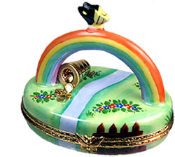 Limoges box rainbow with pot of gold