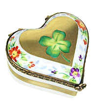 Limoges box heart with four leaf clover