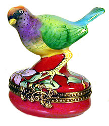 Colorful songbird Limoges box