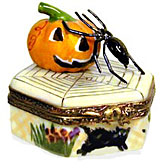 limoges box Spider and Jack O Lantern on patio