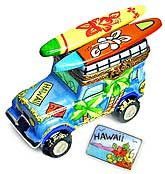 Limoges box Hawaii surfing jeep with surfboards and postcard