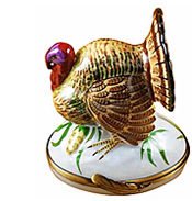 Limoges box turkey with stalk of corn from Rochard