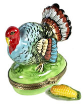 Turkey with ear of corn Limoges box