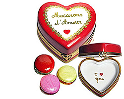 Limoges box Valentine macarons in heart shaped box