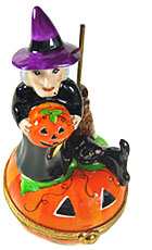 Limoges box witch on Jack o' lantern with cat