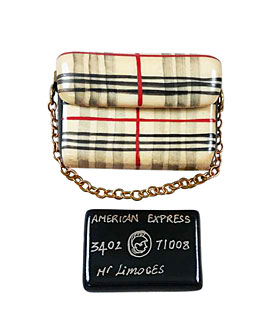 Burberry purse Limoges box with Am Ex card