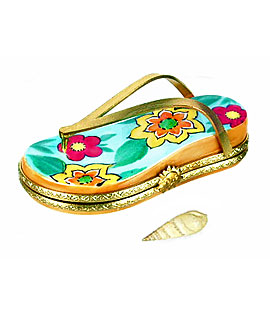 Limoges box beach flipflop with flowers and shell