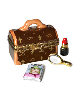 designer travel case Limoges box with mirror and lipstick