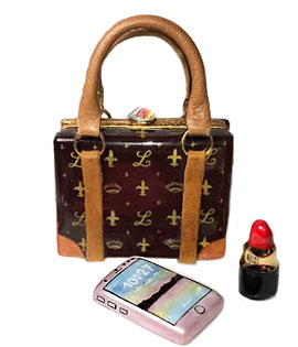 Limoges box designer purse- square shape with rose smart phone and lipstick