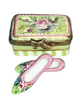 Limoges box shoes in shoebox - Victoria pattern