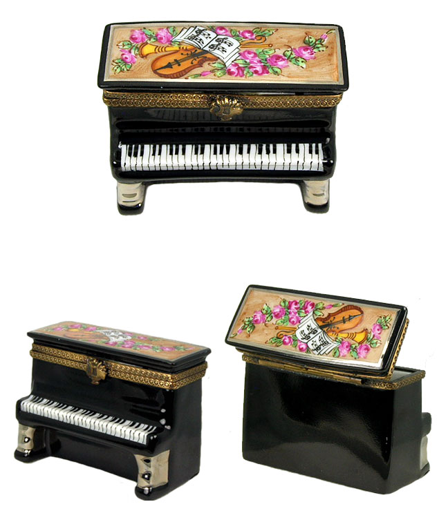 black standup piano with musical decor and flowers