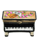Limoges box black upright piano with musical and flowers decor