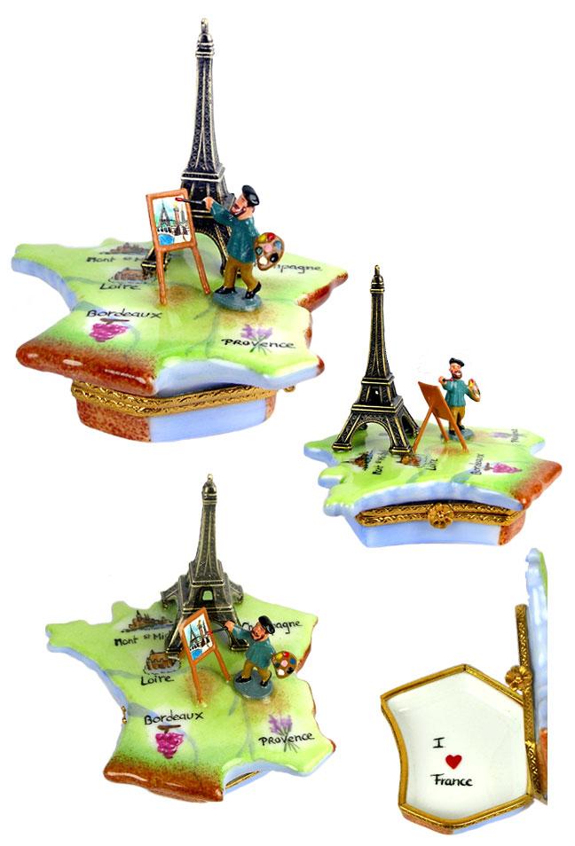 Map Of France Eiffel Tower.Rochard Limoges Box Artist Painting Eiffel Tower On Map Of France