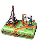 Artist painting the Eiffel Tower Limoges box - rectangular