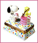 snoopy and woodstock birthday limoges box