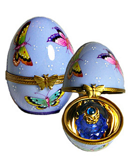 Limoges box blue perfume egg with butterflies