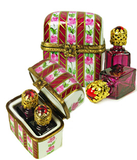 Limoges box perfume case red stripes and flowers with two bottles
