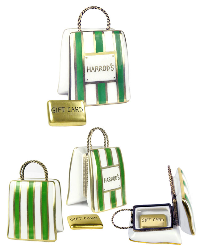 Harrods Of London Limoges Box Shopping Bag With Gift Card