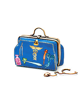 blue doctor's bag Limoges box with stethescope