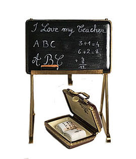 Limoges box blackboard easel -  I love my teacher - with case and book