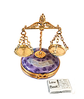 Limoges box scales of justice on round base with law book inside