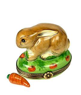 Limoges box brown bunny with porcelain carrot