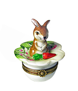 Limoges box bunny on flower with carrot
