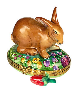 Limoges box brown bunny in berry patch with porcelain strawberry