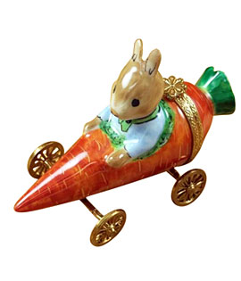 Limoges box rabbit in carrot car