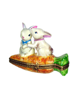 Limoges box rabbits kissing on carrot