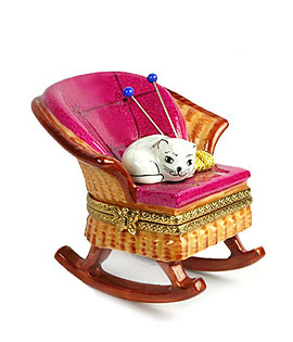 Limoges box cat in rocking chair with yarn and knitting needles