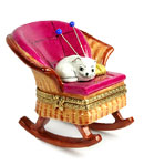 limoges box cat in rocking chair with yarn