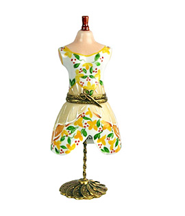 Limoges box yellow dress form on stand