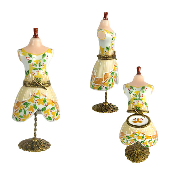 dress form Limoges box with yellow print dress