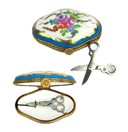 Limoges box small case with mini scissors