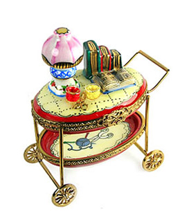 Limoges box rolling sewing cart with lamp, books and sewing supplies