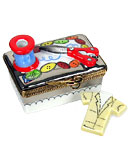 Limoges box sewing case with scissors, thread and shirt
