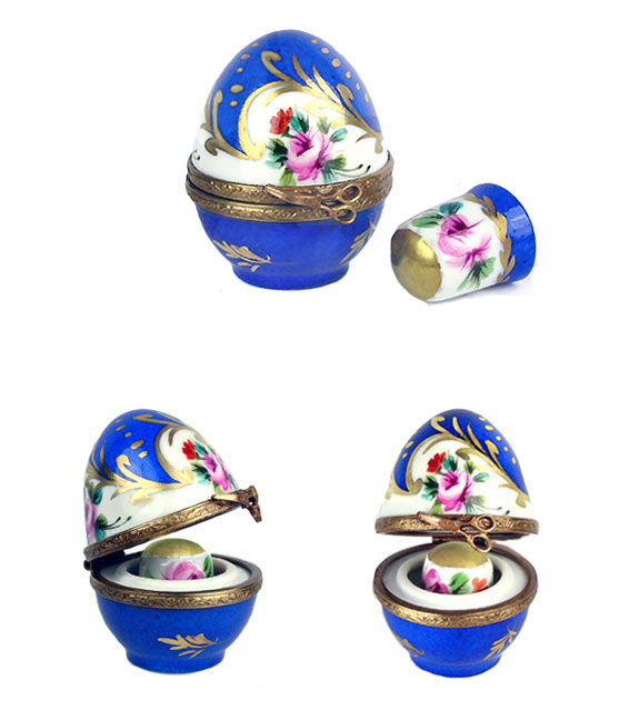 floral egg Limoges box with matching thimble