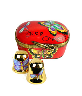 Limoges box red butterfly thimble case with gold thimbles