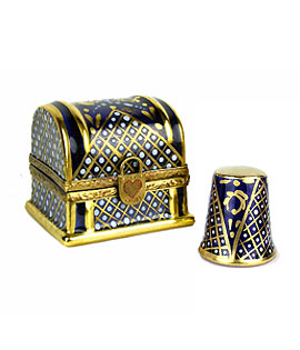 thimble trunk limoges box - cobalt and gold