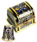 Limoges box blue and gold thimble in chest