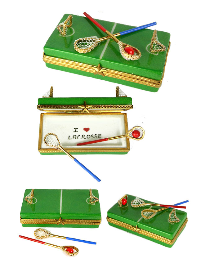 Lacrosse Field Limoges Box With Sticks Goals And Ball From Rochard