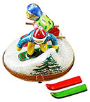 skier and snowboarder rochard limoges box