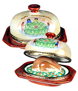 turkey under dome Limoges box with family scene