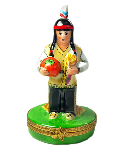 Indian man at first Thanksgiving Limoges box