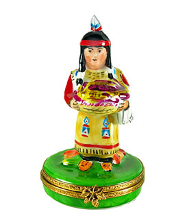 Limoges box Native American woman at first Thanksgiving